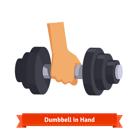 hand with dumbbell: Heavy dumbbell in hand. Flat style illustration. EPS 10 vector.