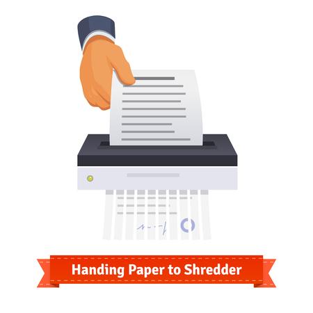 paper shredder: Man handing paper to shredder. Flat style illustration. EPS 10 vector. Illustration