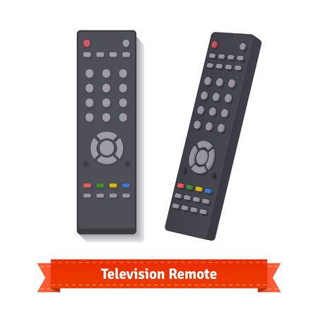 remote: Retro remote control at different angles. Flat style illustration. EPS 10 vector.