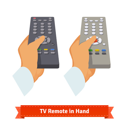 sound off: Retro remote control in hand. Flat style illustration. EPS 10 vector.