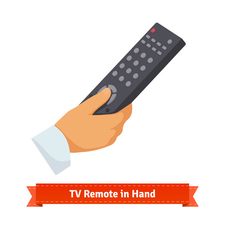 Remote control in hand. Flat style illustration. EPS 10 vector. Vectores