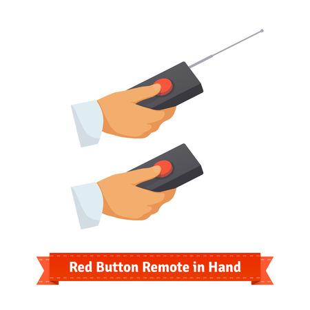red button: Red button remote control with antenna in hand. Flat style illustration. EPS 10 vector.