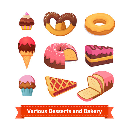cream pie: Various desserts and bakery. Cupcakes, donut, cake. Pie and ice cream. Flat style illustration. EPS 10 vector.
