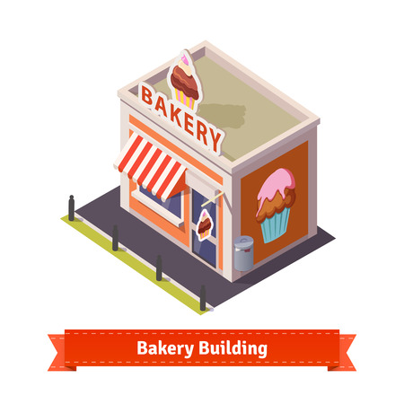 sunblind: Bakery shop building. Flat and isometric style illustration. EPS 10 vector. Flat style illustration. EPS 10 vector. Illustration