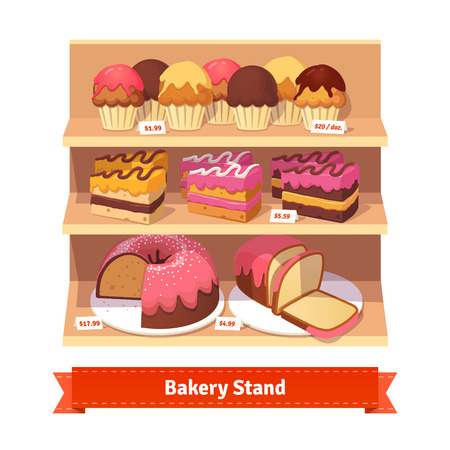 window case: Bakery shop stand with sweet desserts: cupcakes, cakes, bundt cake and bread with frosting. Flat style illustration. EPS 10 vector. Flat style illustration. EPS 10 vector. Illustration