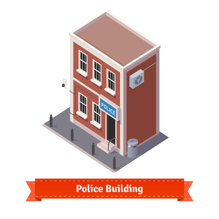police station: Police station building. Flat and isometric style illustration. EPS 10 vector.
