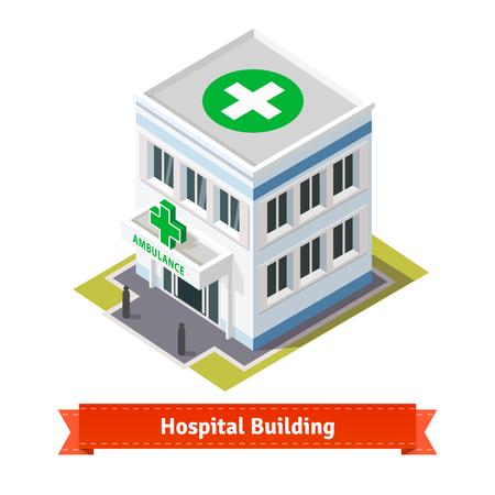 Krankenhaus und Ambulanz Gebäude. Wohnung und kubisch-Stil Illustration. EPS 10 Vektor. Wohnung Stil Abbildung. EPS 10 Vektor. Illustration