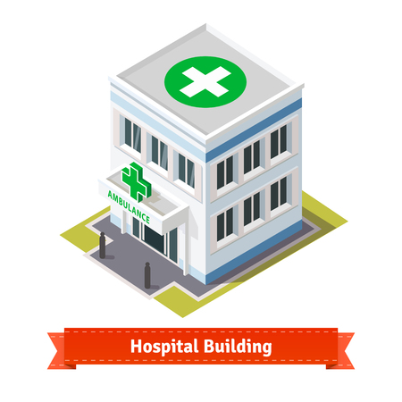 Hospital and ambulance building. Flat and isometric style illustration. EPS 10 vector. Flat style illustration. EPS 10 vector.