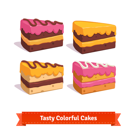 Tasty cake slices with frosting and cream. Flat style illustration. EPS 10 vector.