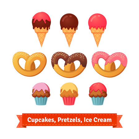 frosting: Cupcakes, pretzels and ice cream. Desserts with frosting. Flat style illustration. EPS 10 vector. Illustration