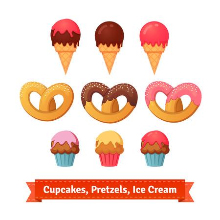 Cupcakes, salatini e gelati. Dessert con glassa. illustrazione stile piatto. EPS 10 vettore. Vettoriali