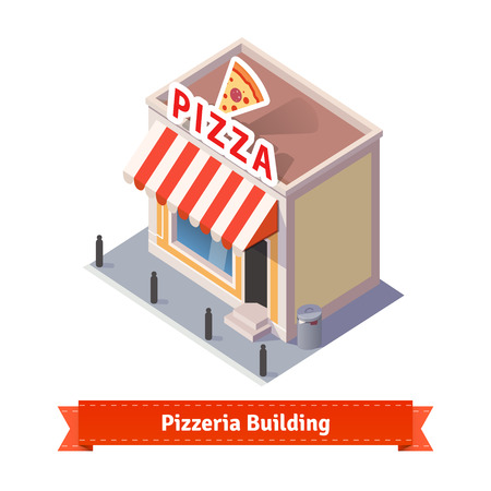 baker cartoon: Pizza restaurant and shop building. Flat and isometric style illustration. EPS 10 vector.