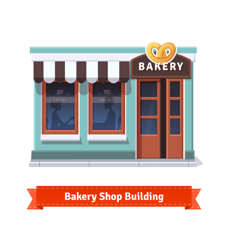 cartoon window: Bakery shop building facade with signboard. Flat style illustration or icon. EPS 10 vector.
