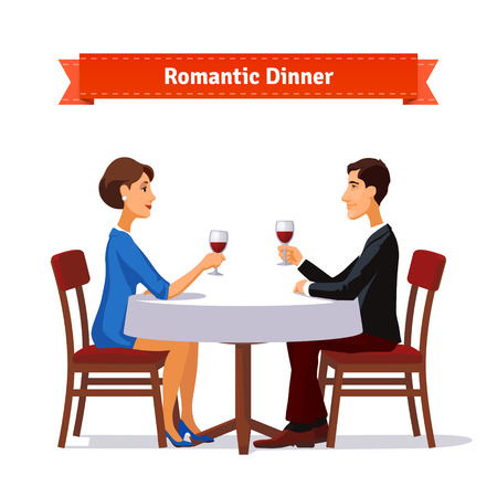for women: Romantic dinner for two. Man and woman holding glasses of whine. Table with white cloth and two chairs. Flat style illustration. EPS 10 vector. Illustration
