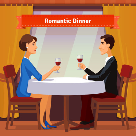 for women: Romantic dinner for two. Man and woman sitting by the window holding glasses of red whine. Table with white cloth and two chairs. Flat style illustration. EPS 10 vector. Illustration