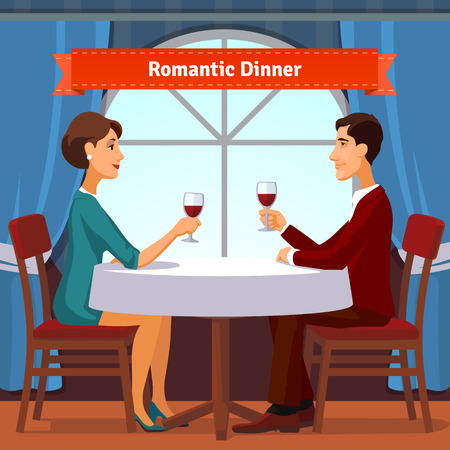 romantic woman: Romantic dinner for two. Man and woman sitting by the window holding glasses of red whine. Table with white cloth and two chairs. Flat style illustration. EPS 10 vector. Illustration