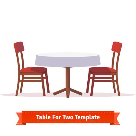Abendessen Tisch für zwei Personen mit weißem Tuch und roten Holzstühlen. Wohnung Stil Abbildung. EPS 10 Vektor. Illustration