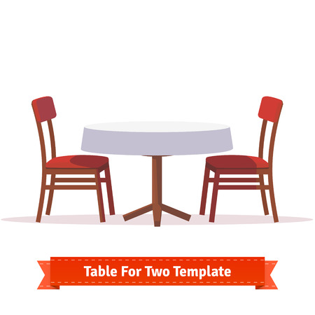 wooden desk: Dinner table for two with white cloth and red wooden chairs. Flat style illustration. EPS 10 vector.