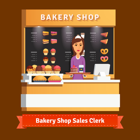 store keeper: Young shop woman assistant serving a cake and cup of coffee at the cashier desk. Flat style illustration. EPS 10 vector.