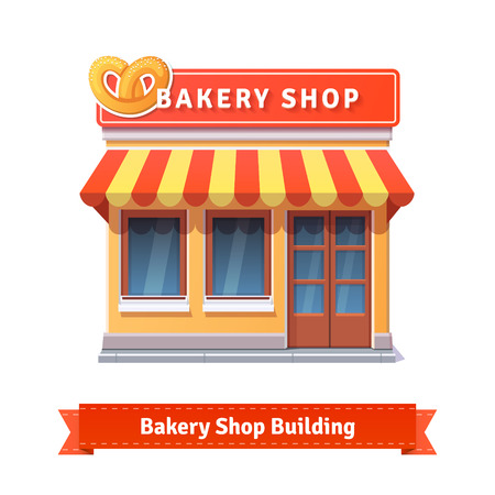 bakery store: Bakery shop building facade with signboard. Flat style illustration or icon. EPS 10 vector.