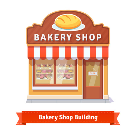 cartoon door: Bakery shop building facade with signboard. Flat style illustration or icon. EPS 10 vector.