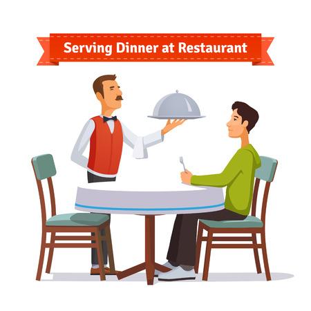 Camarero que sirve un plato de plata con tapa para un cliente. Ilustración del estilo plano o icono. 10 EPS vector.
