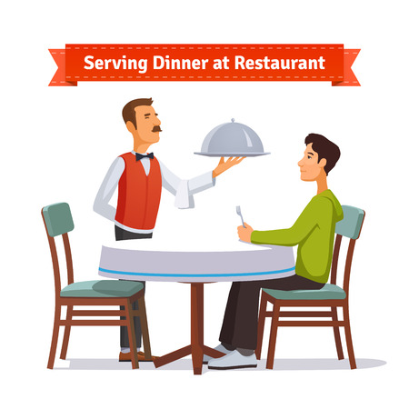 butler: Waiter serving a silver dish with lid to a customer. Flat style illustration or icon. EPS 10 vector.