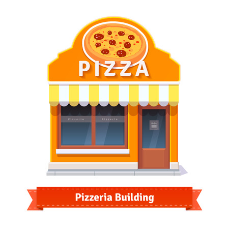 store window: Bakery shop building facade with signboard. Flat style illustration or icon. EPS 10 vector.