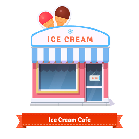 Ice cream restaurant and shop building facade. Flat style illustration or icon. EPS 10 vector.