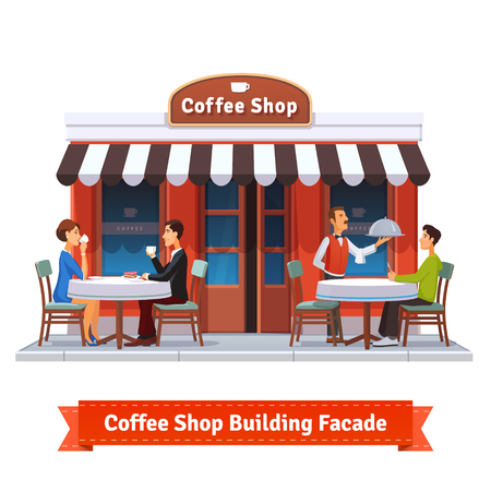 Coffee shop building facade with signboard. People eating and drinking at the tables under sun blind. Waiter serving a dish to a customer. Flat style illustration or icon. EPS 10 vector.