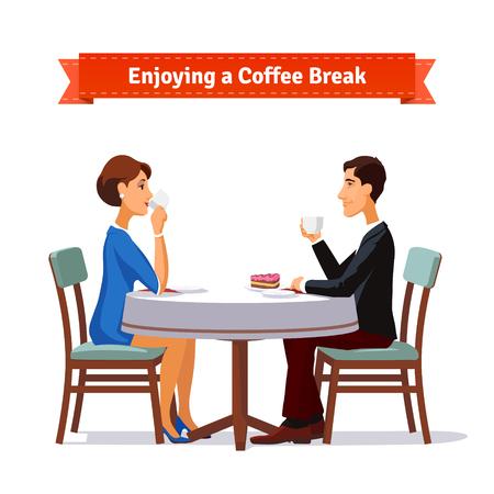 El hombre y la mujer disfruta de un café a romper un poco de torta. Ilustración del estilo plano o icono. 10 EPS vector.
