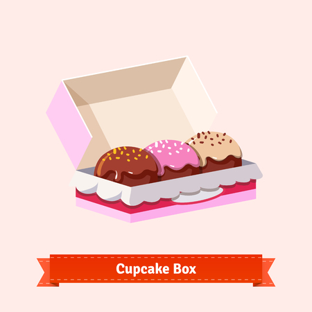 Tasty looking cupcakes in the cardbox. Three cakes in the box. Flat style illustration. EPS 10 vector.