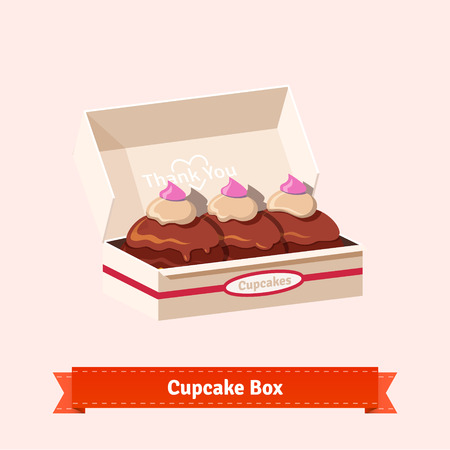 cardbox: Tasty looking cupcakes in the cardbox with a valentine heart. Three cakes in the box. Flat style illustration. EPS 10 vector. Illustration