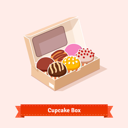 Tasty looking cupcakes in the cardbox. Six cakes in the box. Flat style illustration. EPS 10 vector.