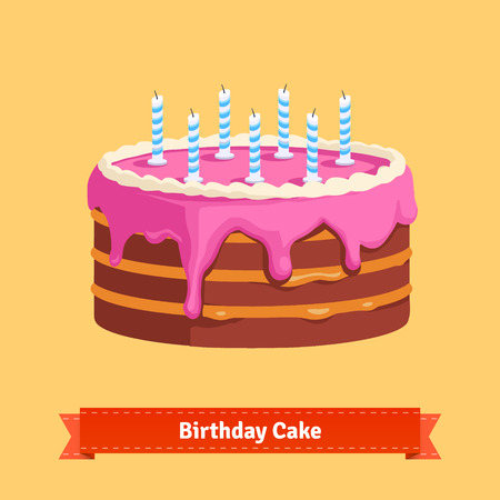 isolated: Homemade birthday cake with a pink frosting. Flat style illustration. EPS 10 vector.
