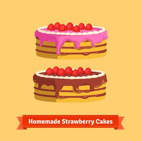buttercream: Homemade strawberry cakes. Flat style illustration. EPS 10 vector.