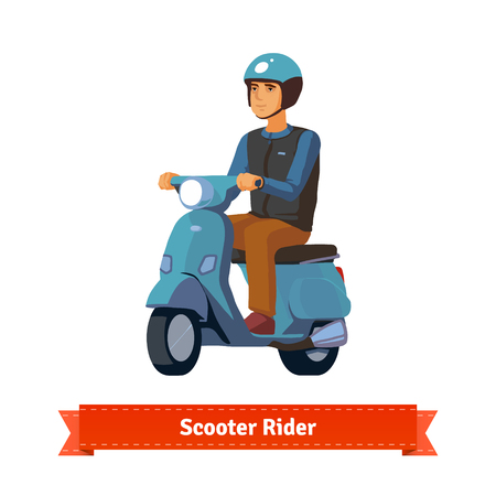 bicycle helmet: Young man on a scooter with helmet. Flat style illustration. EPS 10 vector.