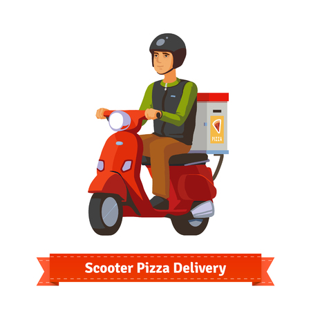 Young man on a scooter delivering pizza. Flat style illustration. EPS 10 vector.