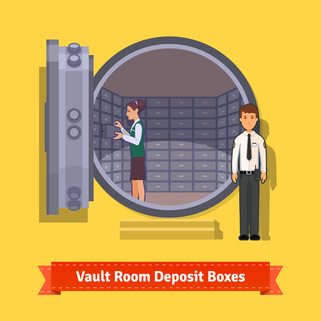 Bank vault room with a safe deposit boxes, clerk and guard. Flat style illustration. EPS 10 vector.