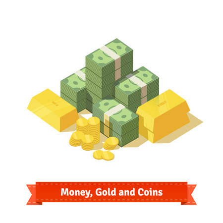 money savings: Big stacked pile of cash. Some gold bars and coins. Personal treasure. Flat style isometric illustration. EPS 10 vector.
