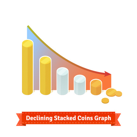 stock price losses: Declining Stacked Coins Graph. Flat style illustration. EPS 10 vector.