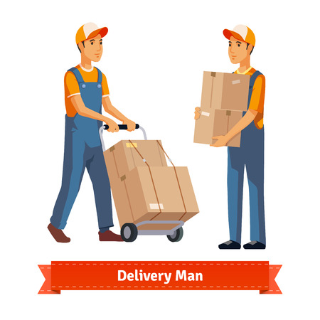 consign: Delivery man with boxes. Flat style illustration. EPS 10 vector.