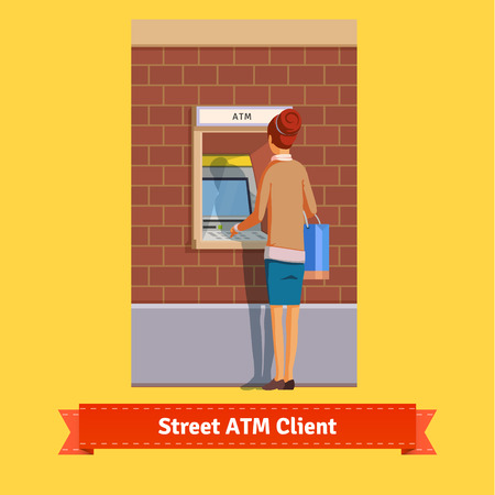 withdrawal: Girl at ATM machine doing deposit or withdrawal. Woman standing. Flat style vector icon. Illustration