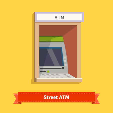 Wall mounted outdoor ATM machine. Flat style vector illustration.