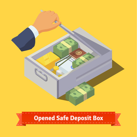 valuables: Hand opening a safe deposit box full of valuables - money, gold, papers and coins. Flat style illustration. EPS 10 vector.