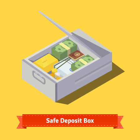 valuables: Hands putting money and valuables to a safe deposit box. Flat style illustration. EPS 10 vector.