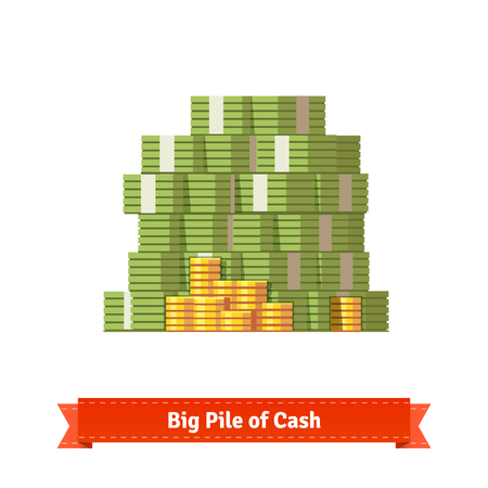 Big stacked pile of cash and some gold coins. Flat style illustration. EPS 10 vector.