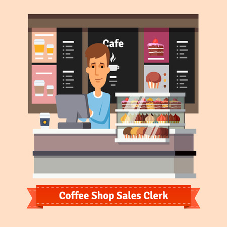 food shop: Young shop assistant serving a cup of coffee at the cashier desk. Flat style illustration. EPS 10 vector.