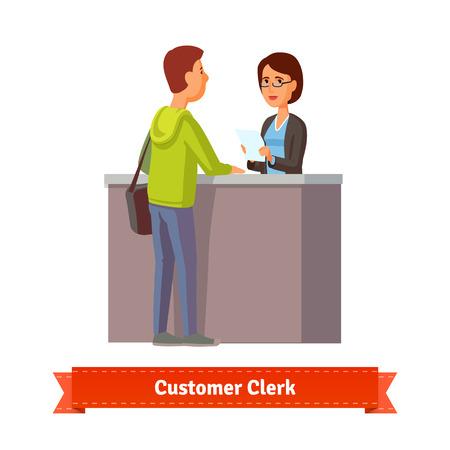 Assistent bediende het werken met de klant. Flat stijl illustratie. EPS-10 vector. Stock Illustratie