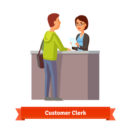 Assistant clerk working with customer. Flat style illustration. EPS 10 vector. Vettoriali